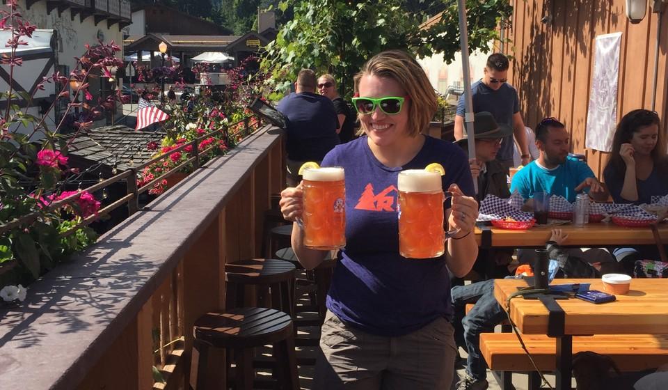 Woman enjoying German beer in Leavenworth