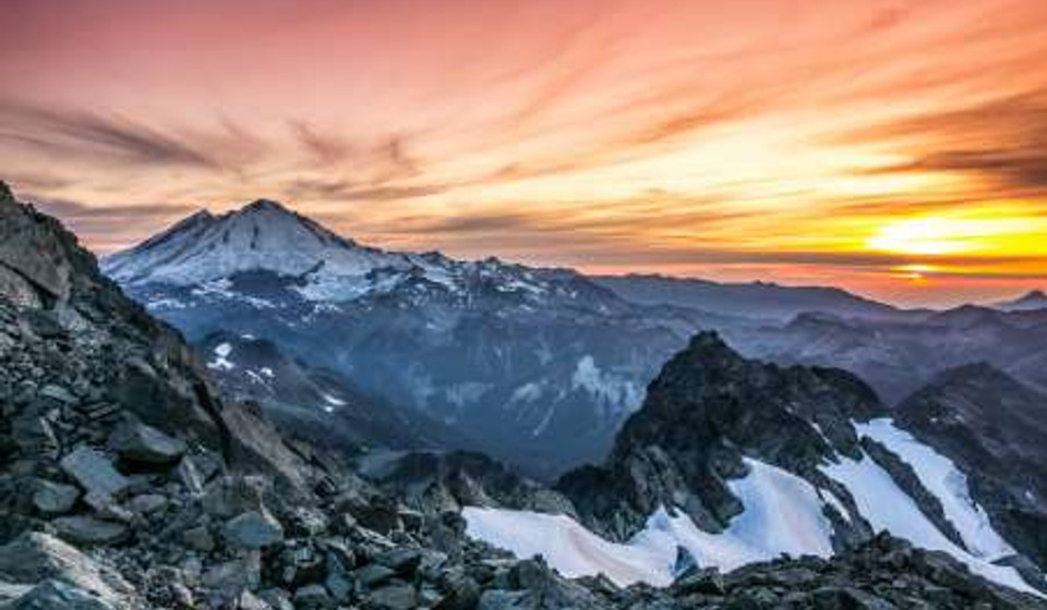 Sunset in the mountains in Mt Baker area