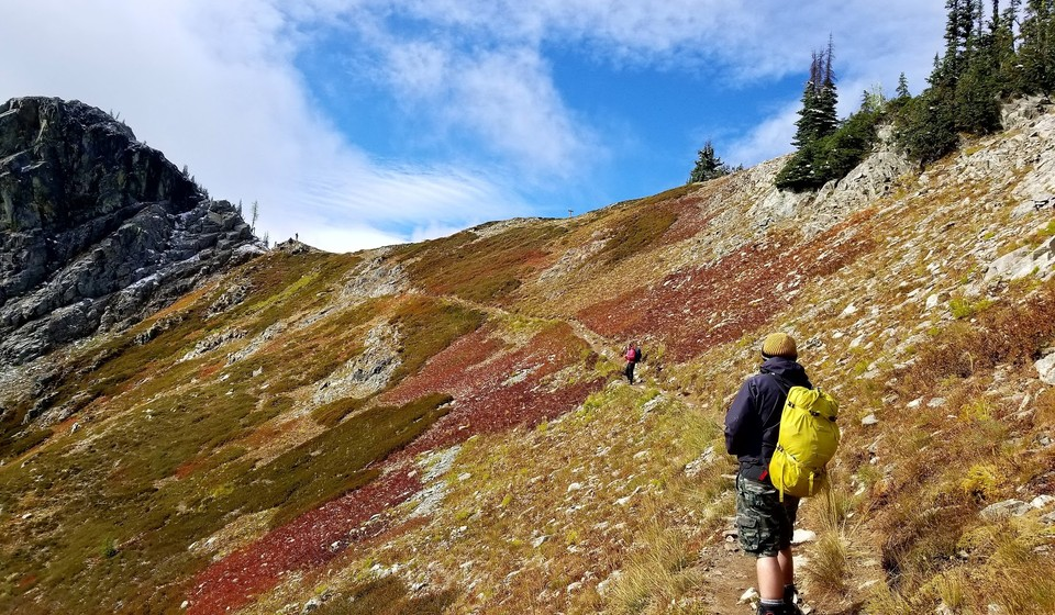Man enjoying fall colors on the Heather Maple Pass Loop hike