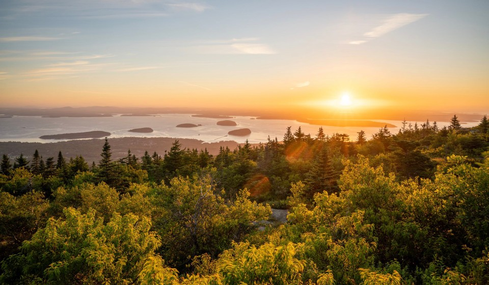 Sunrise from the top of Cadillac Mountain in Acadia National Park.