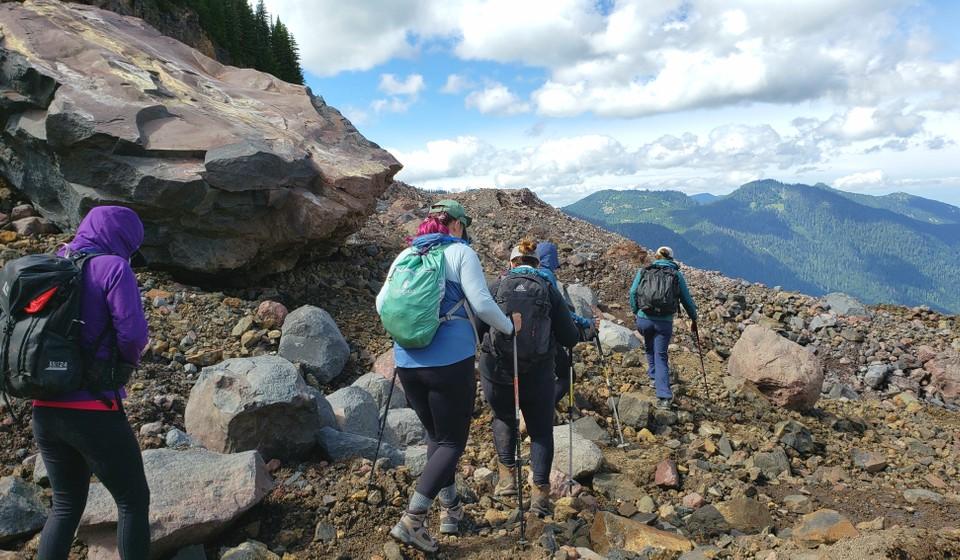 Women hiking to walk on a glacier