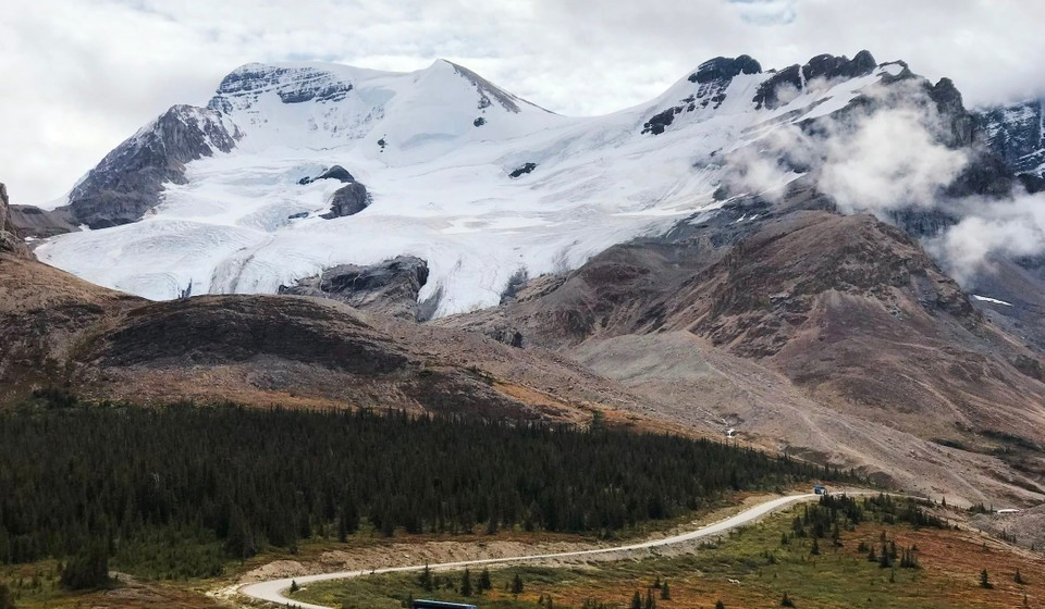 A view of the Athabasca Glacier on the way to Jasper National Park in Canada.