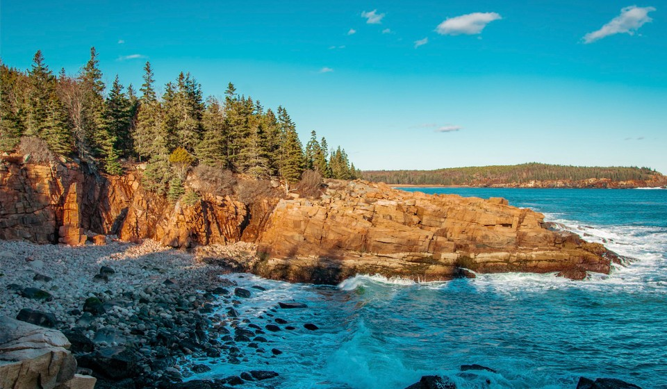 The rugged coastline of Acadia National Park.