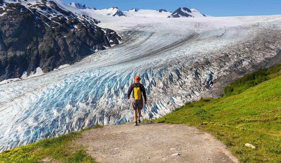 Hiker approaching harding ice field