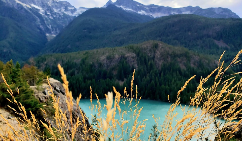 Diablo Lake lookout view of the North Cascades jagged peaks