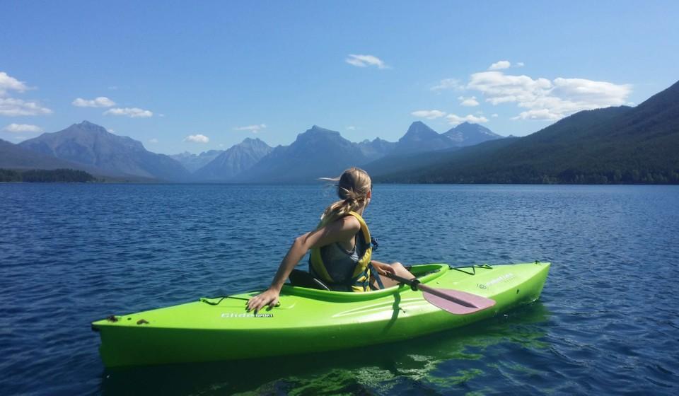 Kayaking on Lake McDonald in Glacier National Park.