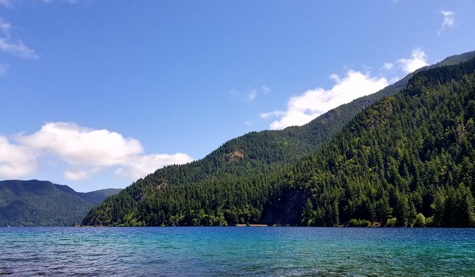 Shoreline of Lake Crescent with forested mountain range and blue water