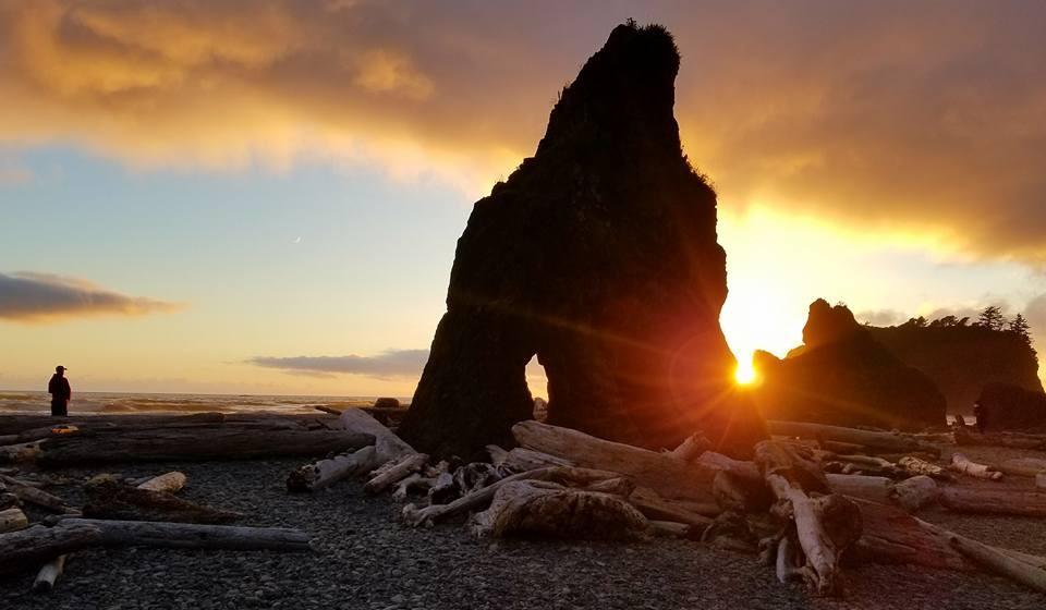 Big rock on the beach of the Olympic Peninsula